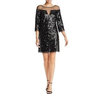 Laundry by Shelli Segal Sequined 3/4 Sleeve Dress